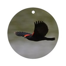 Redwing Over the River Ornament (Round)