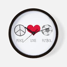 Peace Love Futbol Wall Clock