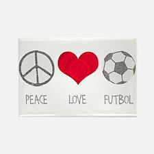 Peace Love Futbol Rectangle Magnet (100 pack)