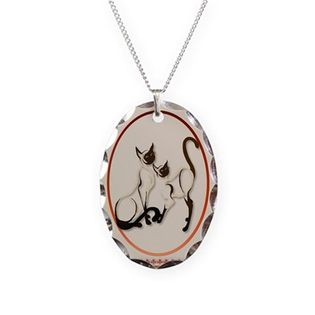 Two Siamese Cats Necklace Oval Charm