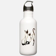 Two Siamese Cats Water Bottle