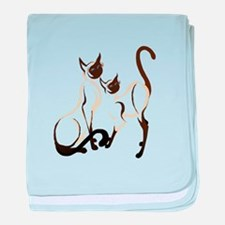 Two Siamese Cats baby blanket