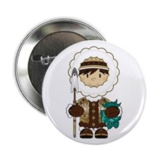 "Cute Inuit Fisherman 2.25"" Button"