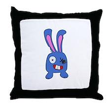 Mad Bunny Throw Pillow