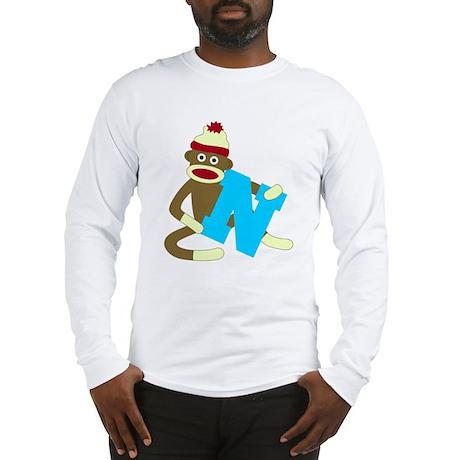 Sock Monkey Monogram Boy N Long Sleeve T-Shirt