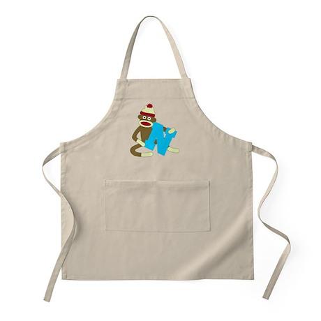Sock Monkey Monogram Boy N Apron
