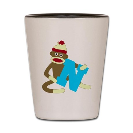 Sock Monkey Monogram Boy N Shot Glass