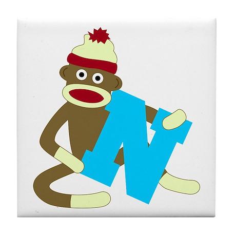 Sock Monkey Monogram Boy N Tile Coaster