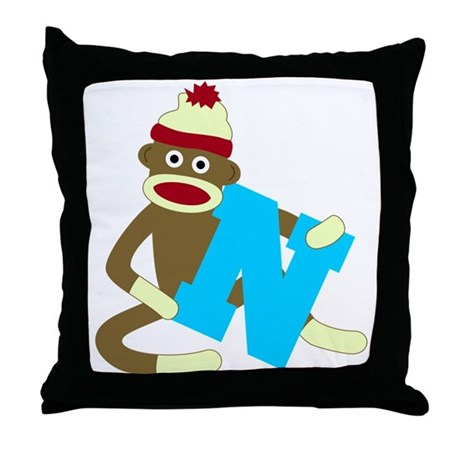 Sock Monkey Monogram Boy N Throw Pillow