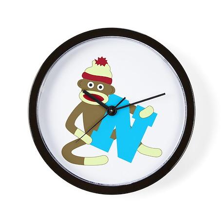 Sock Monkey Monogram Boy N Wall Clock