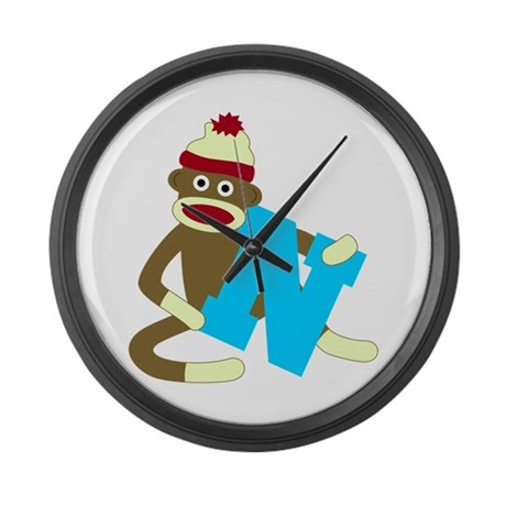 Sock Monkey Monogram Boy N Large Wall Clock