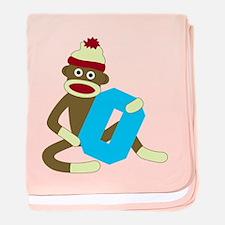 Sock Monkey Monogram Boy O baby blanket