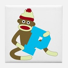 Sock Monkey Monogram Boy P Tile Coaster