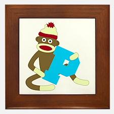 Sock Monkey Monogram Boy P Framed Tile