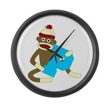 Sock Monkey Monogram Boy P Large Wall Clock