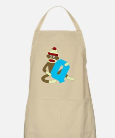 Sock Monkey Monogram Boy Q Apron