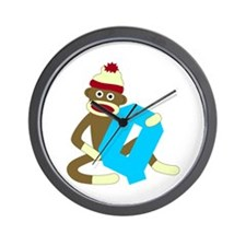 Sock Monkey Monogram Boy Q Wall Clock