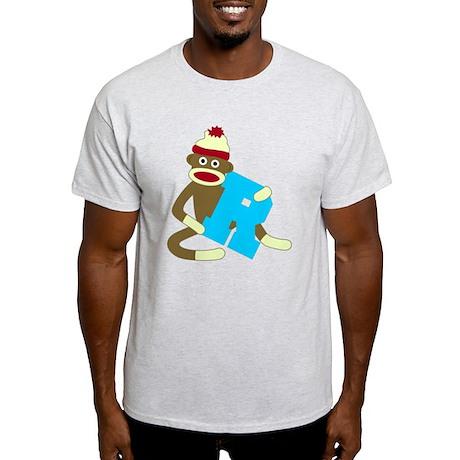 Sock Monkey Monogram Boy R Light T-Shirt