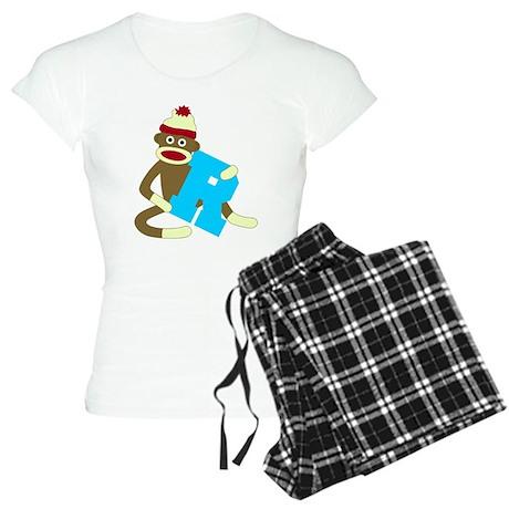 Sock Monkey Monogram Boy R Women's Light Pajamas