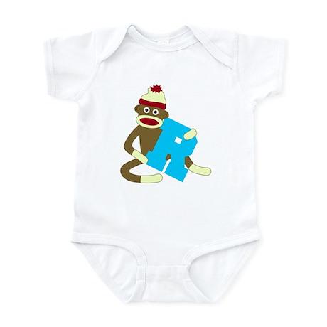 Sock Monkey Monogram Boy R Infant Bodysuit
