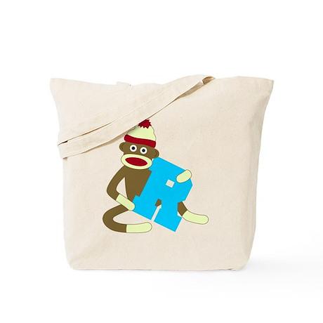 Sock Monkey Monogram Boy R Tote Bag