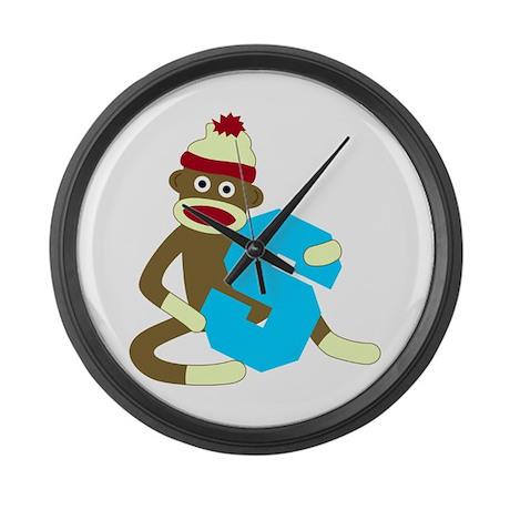 Sock Monkey Monogram Boy S Large Wall Clock