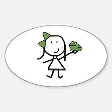 Girl & Frog Oval Decal