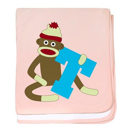 Sock Monkey Monogram Boy T baby blanket