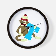 Sock Monkey Monogram Boy T Wall Clock