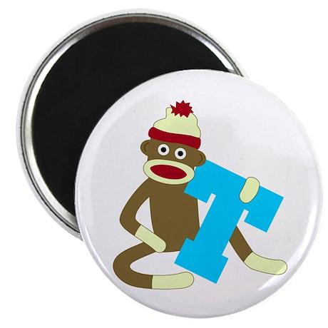 Sock Monkey Monogram Boy T Magnet