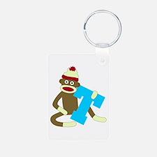 Sock Monkey Monogram Boy T Keychains