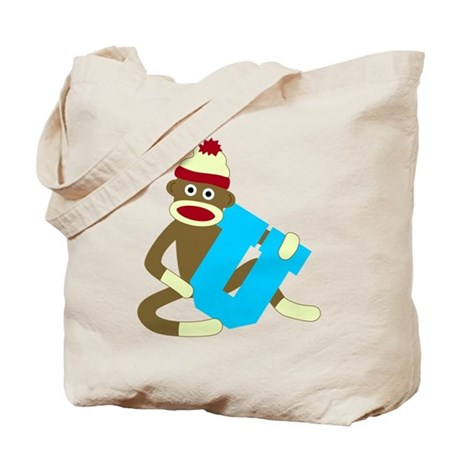 Sock Monkey Monogram Boy U Tote Bag