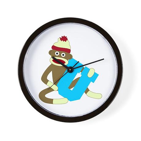 Sock Monkey Monogram Boy U Wall Clock