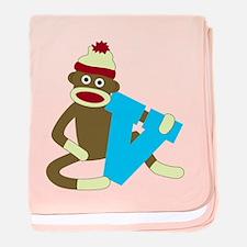 Sock Monkey Monogram Boy V baby blanket