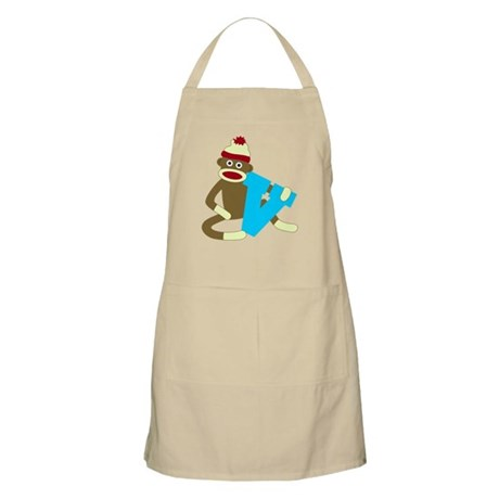 Sock Monkey Monogram Boy V Apron