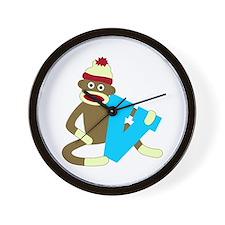 Sock Monkey Monogram Boy V Wall Clock