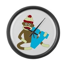 Sock Monkey Monogram Boy V Large Wall Clock
