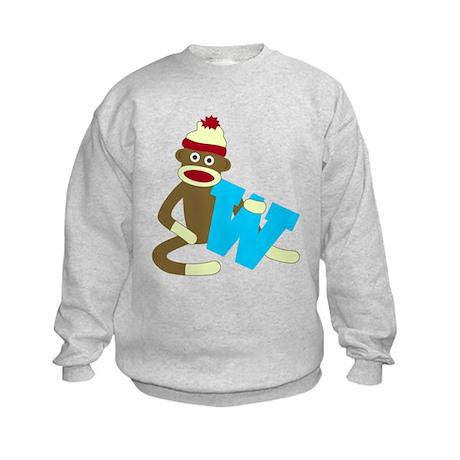 Sock Monkey Monogram Boy W Kids Sweatshirt