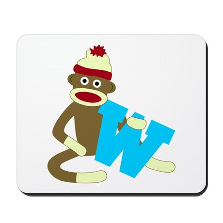 Sock Monkey Monogram Boy W Mousepad
