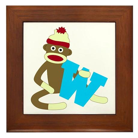 Sock Monkey Monogram Boy W Framed Tile