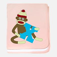Sock Monkey Monogram Boy X baby blanket