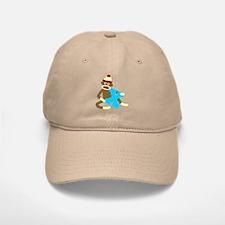 Sock Monkey Monogram Boy X Baseball Baseball Cap
