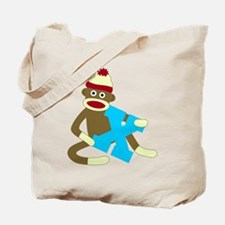 Sock Monkey Monogram Boy X Tote Bag