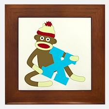 Sock Monkey Monogram Boy X Framed Tile