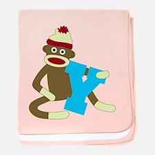 Sock Monkey Monogram Boy Y baby blanket