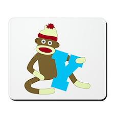 Sock Monkey Monogram Boy Y Mousepad
