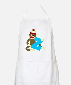 Sock Monkey Monogram Boy Z Apron