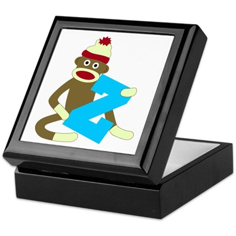 Sock Monkey Monogram Boy Z Keepsake Box