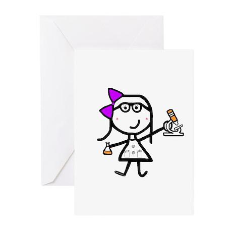 Girl & Microscope Greeting Cards (Pk of 10)