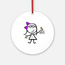 Girl & Microscope Ornament (Round)